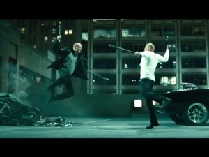 No action movie is complete without at least one slow motion fight camera trick.